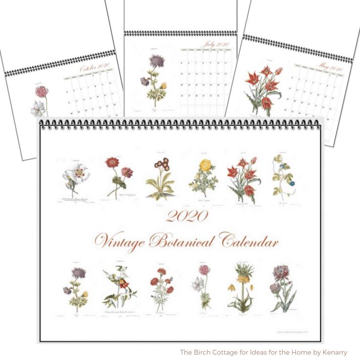 Different views of the free printable 2020 Vintage Botanical Calendar