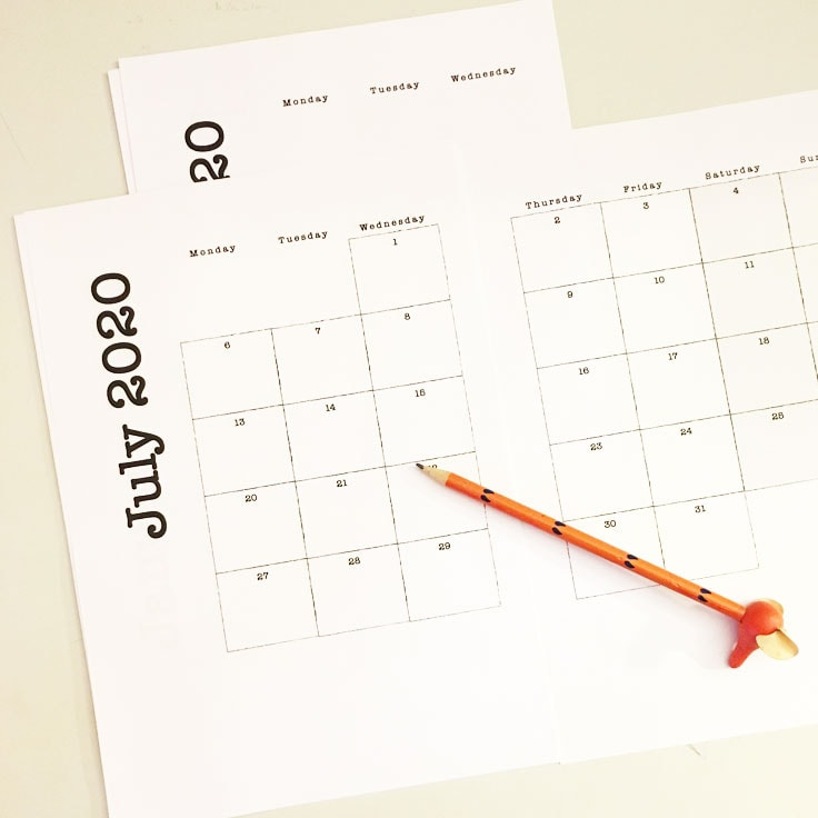 Preview of July 2020 two page monthly calendar printable with pencil on top.