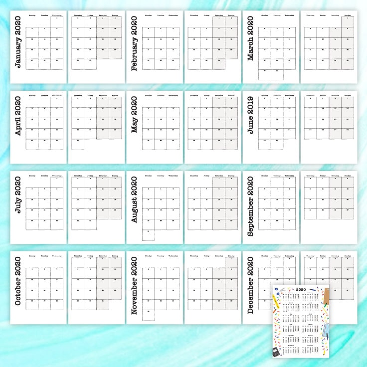 Preview of January 2020 - December 2020 monthly calendars printed on two pages with 2020 yearly overview on one page.