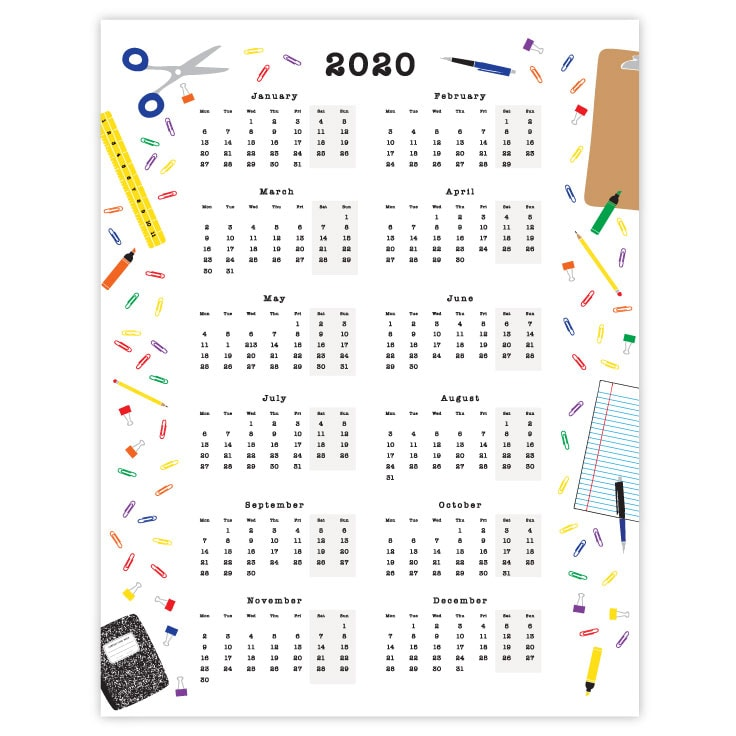 Preview of 2020 yearly calendar overview printable.