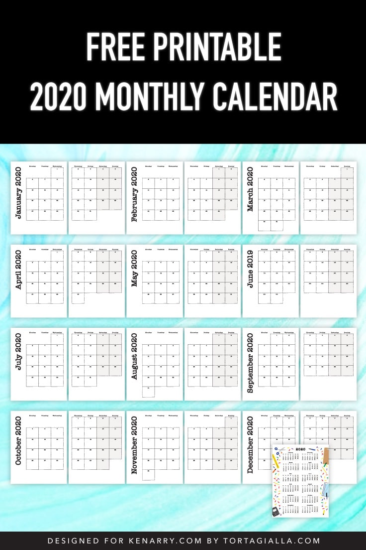 Preview of 2020 monthly calendar printed pages.