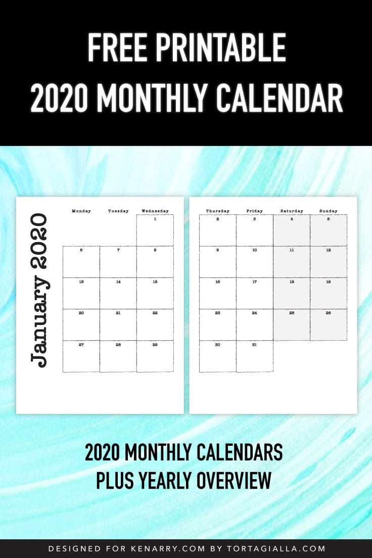 Preview of January 2020 monthly calendar printed on two pages.
