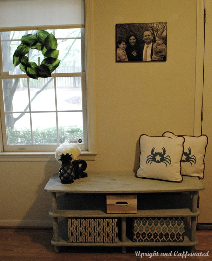 An upcycled entryway bench