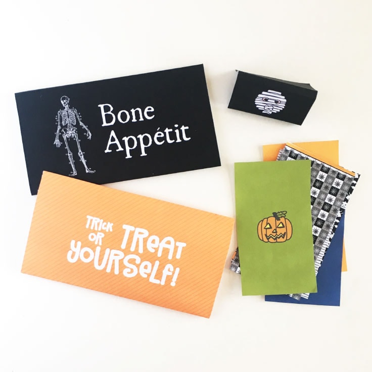 Bone Appetit, Trick or Treat Yourself! and more Halloween themed designs printed and trimmed.