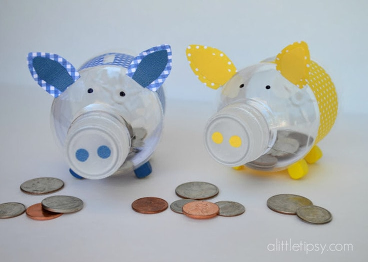 Piggy banks made out of plastic bottles