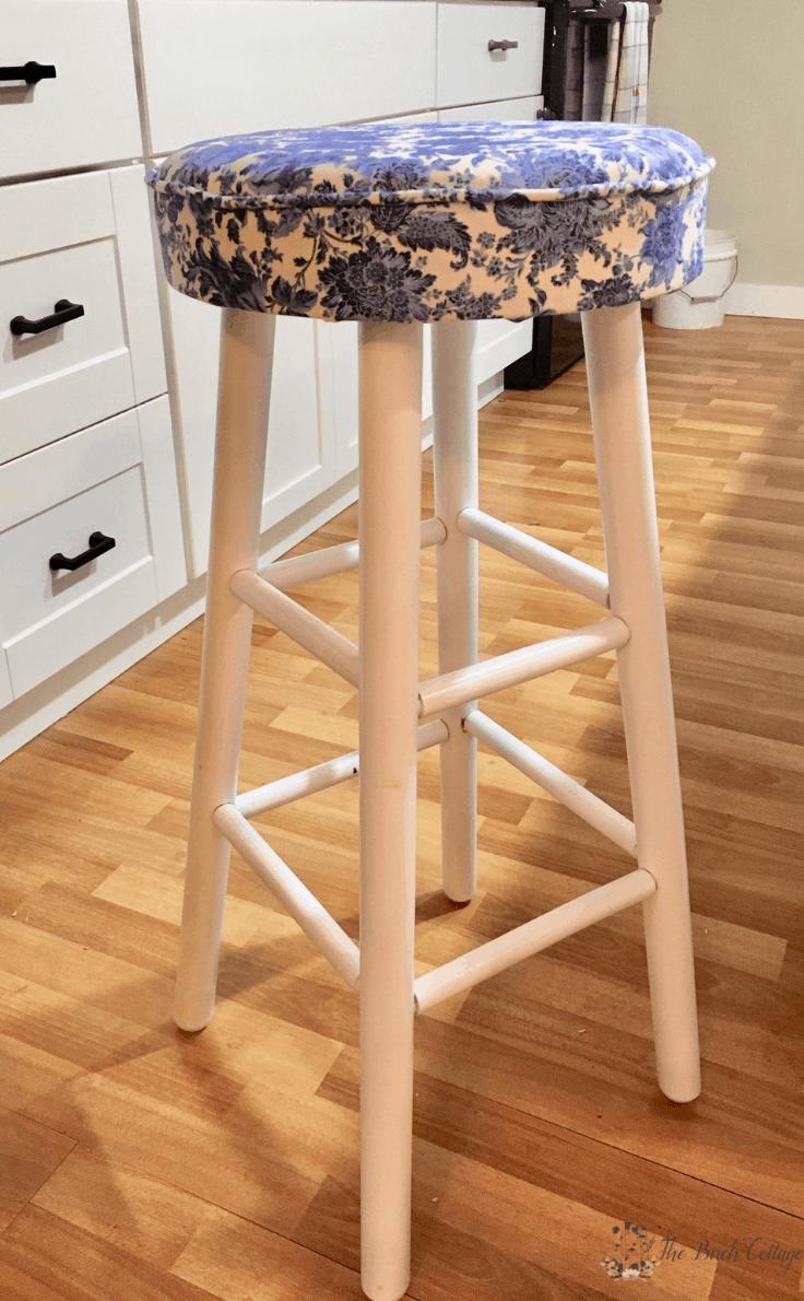 The finished upholstered bar stool