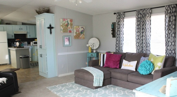 Redecorated Mobile Home Living Room