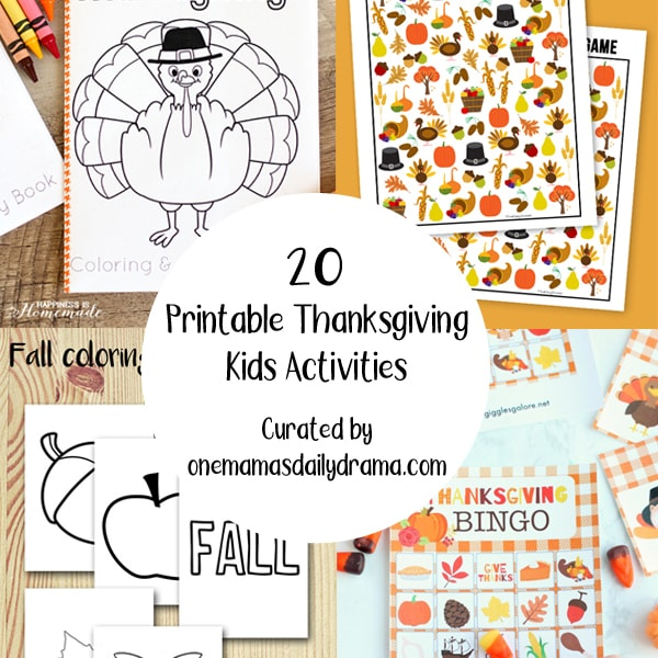 collage of printable Thanksgiving kids activities