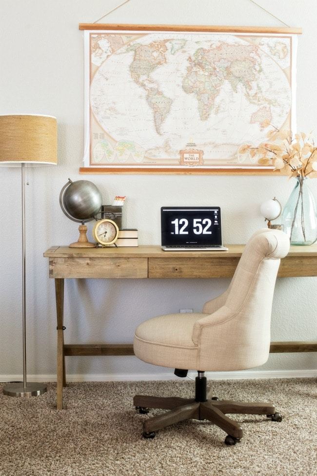A neutral themed home office