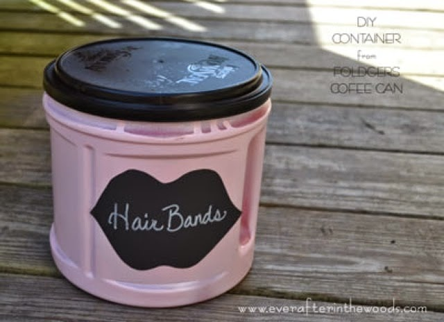 How to use a coffee can as a hair bands container