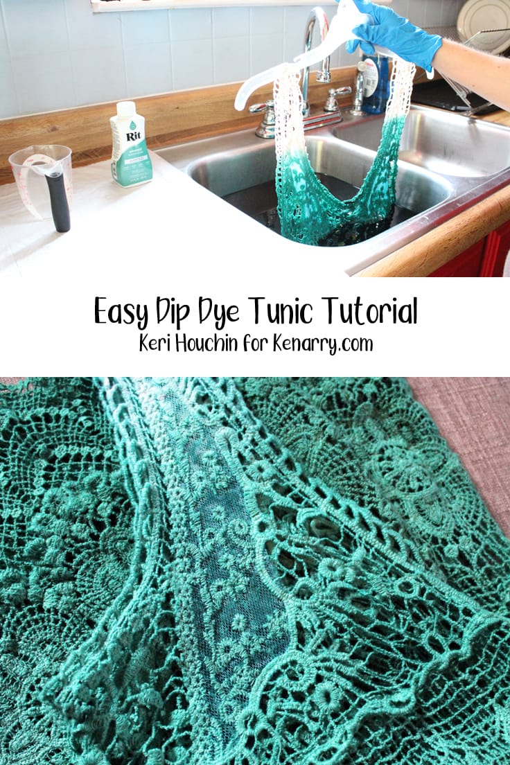dip dye tunic tutorial collage with white tunic dipped in green and closeup of dyed tunic