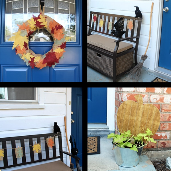 DIY fall porch decor tutorial from One Mama's Daily Drama