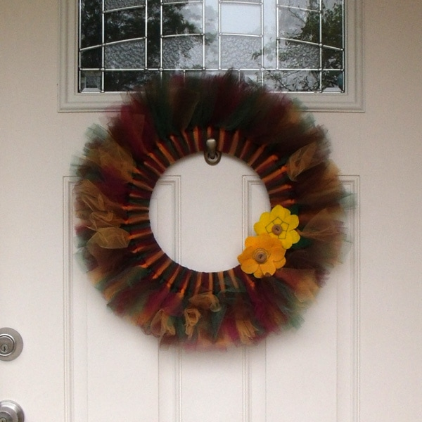 DIY fall tulle wreath tutorial from One Mama's Daily Drama