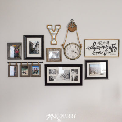 A family photo gallery wall displayed as farmhouse style home decor in a living room