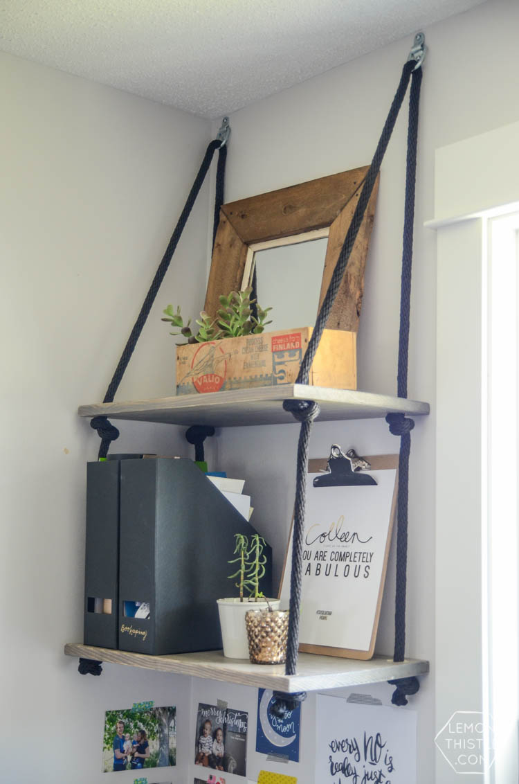 DIY hanging shelves in a home office