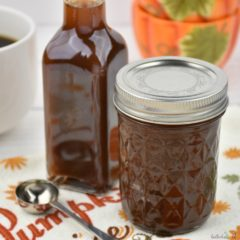 Homemade Pumpkin Spice Syrup bottled