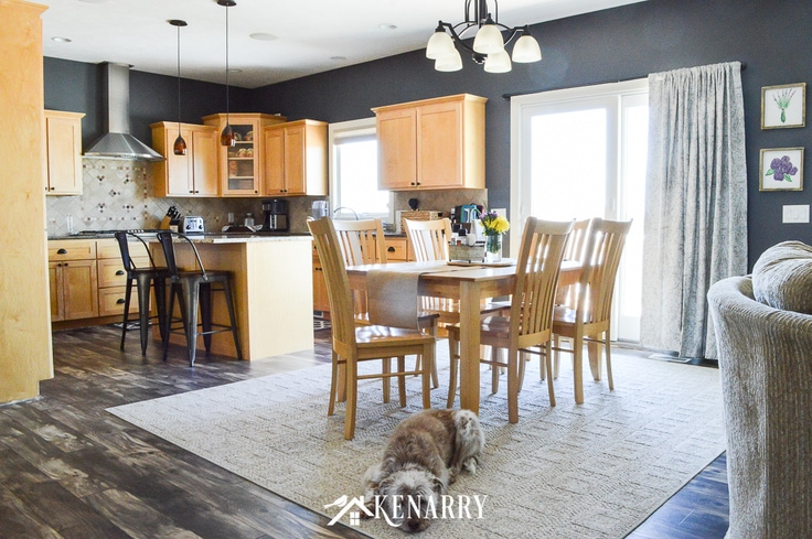 Scruffy dog laying on an area rug in a dining room next to a dark gray kitchen with natural maple cabinets