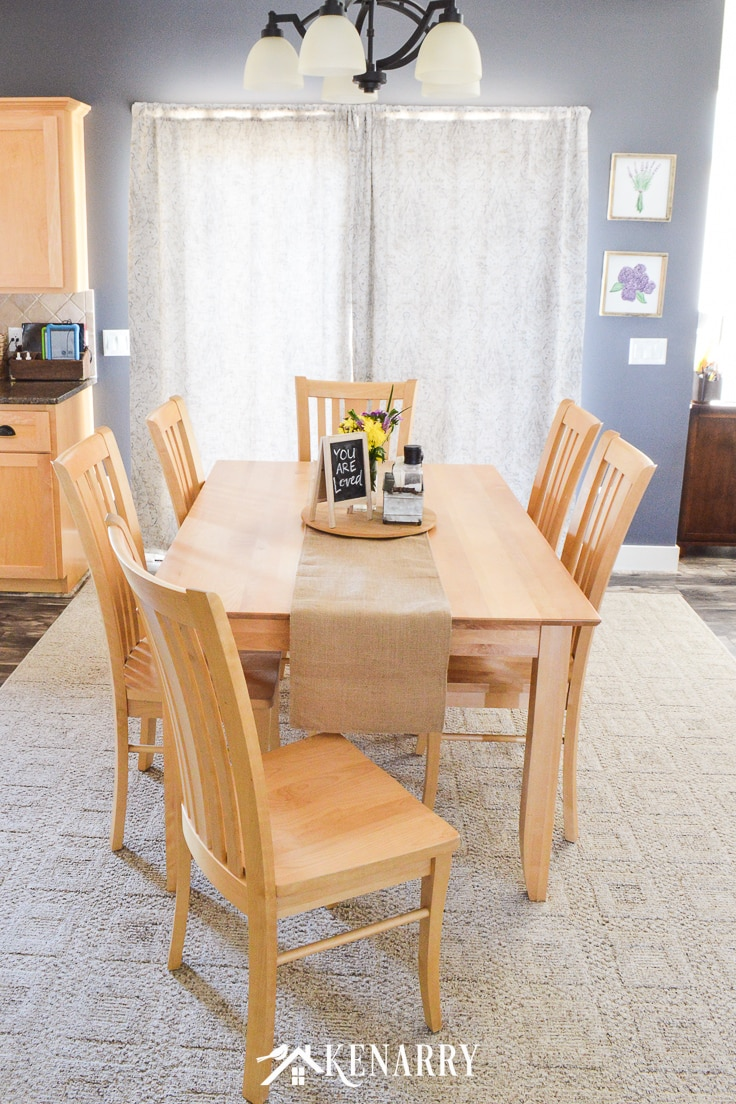 Burlap table runner and center piece on a mission style dining room table and chairs made with natural maple wood