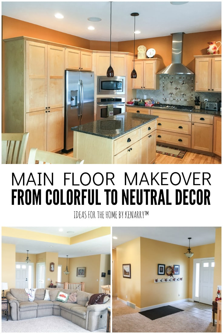 Main Floor Makeover from Colorful to Neutral Decor - Ideas for the Home by Kenarry