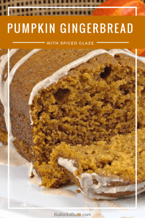 A moist and delectable Pumpkin Gingerbread drizzled with a Spiced Glaze. #recipes #pumpkin