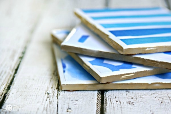 blue and white DIY drink coasers a small craft