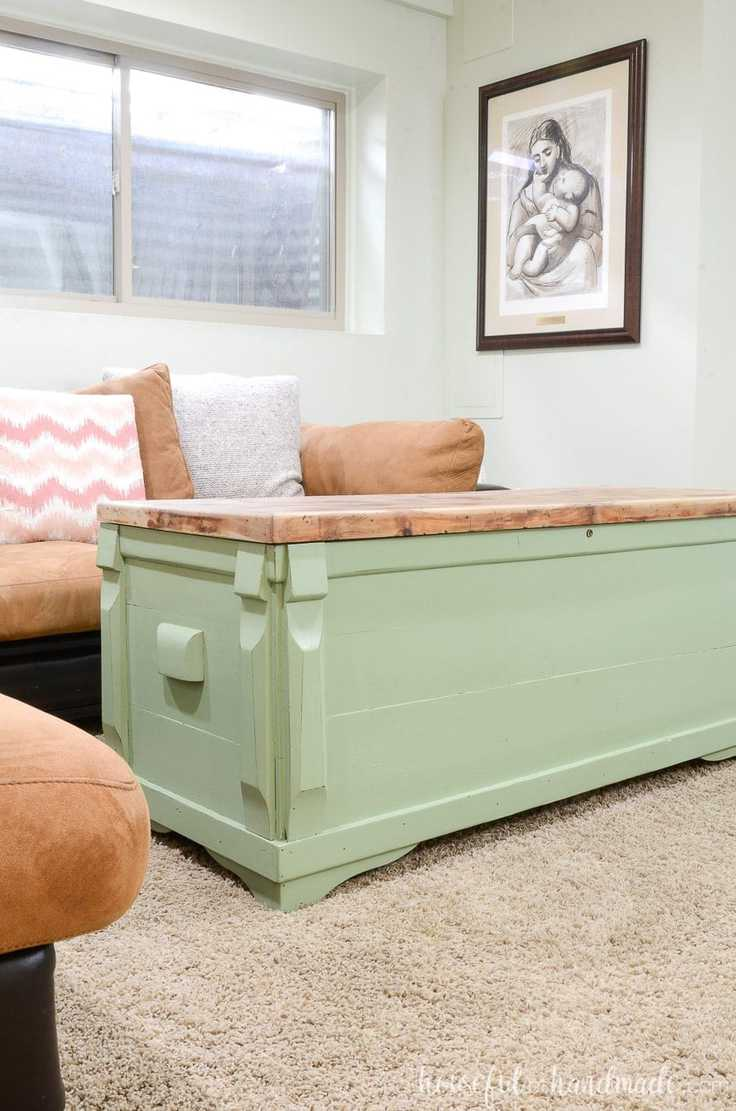Upcycled chest into a coffee table