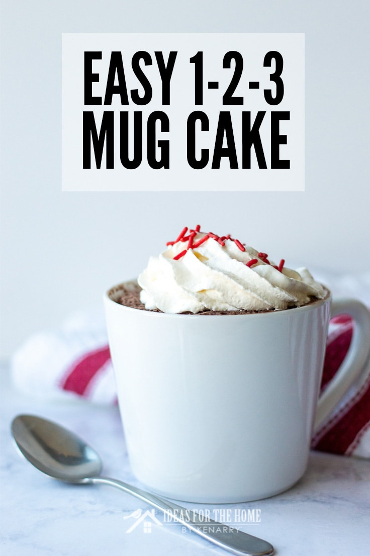 Easy 123 Mug Cake topped with whipped cream and sprinkles