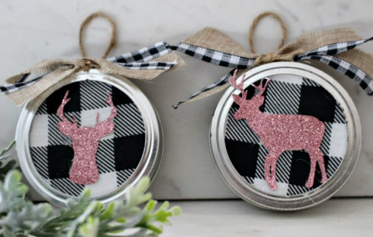 buffalo check mason jar lids Christmas ornaments