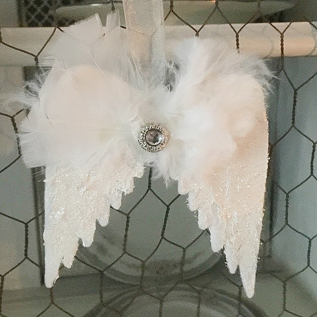 white felt angel wings Christmas ornaments