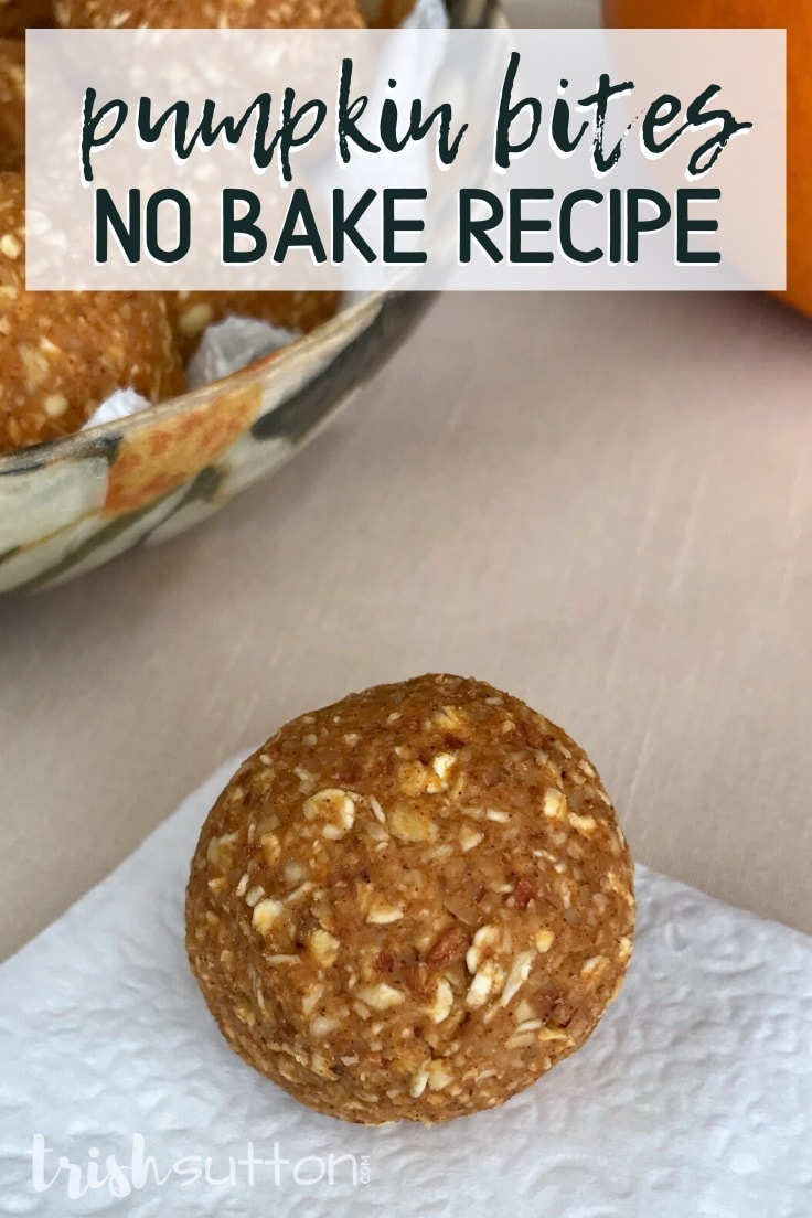 Pumpkin bites no bake recipe - pumpkin bite on a white napkin with a bowl of pumpkin bites in the background