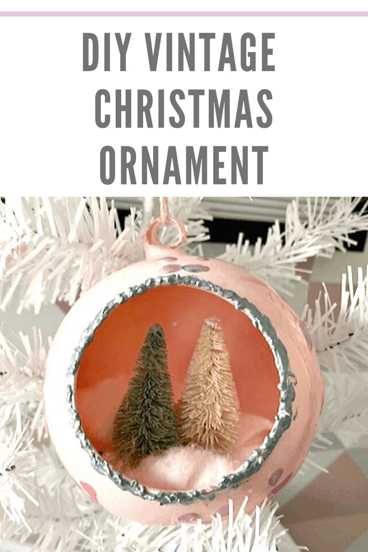 DIY vintage-inspired Christmas tree ornament with mini Christmas trees inside of it.