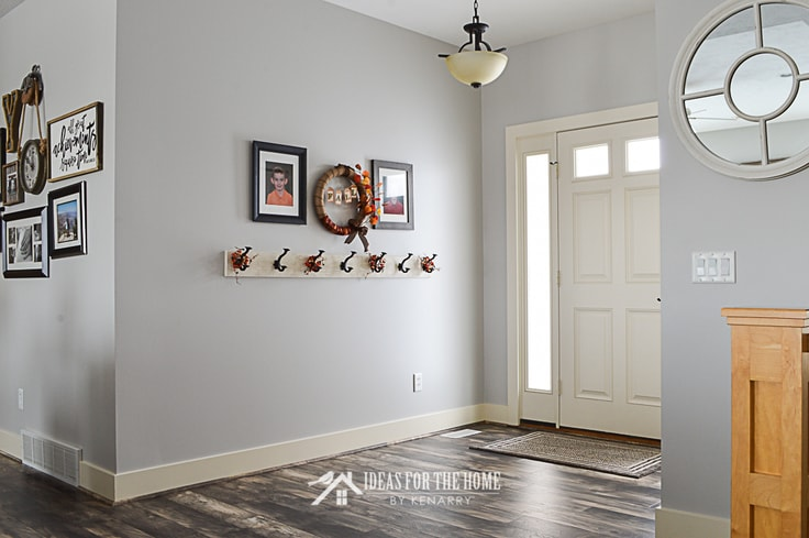 Entryway of a home with farmhouse style coat rack