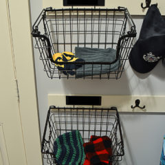 Wire baskets to hold winter hats, mittens and scarves