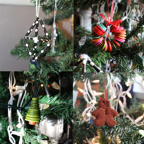 collage of handmade Christmas ornaments on a green tree