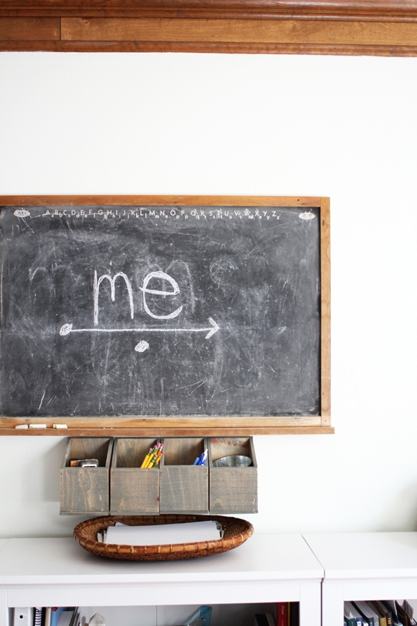 A hanging wall organizer underneath a chalkboard