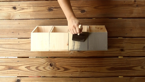 Apply stain to the hanging wall organizer