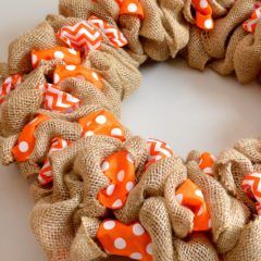 Burlap Wreath with polka dot and chevron accent ribbons