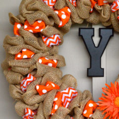 Burlap Ribbon Wreath with two different accent ribbons