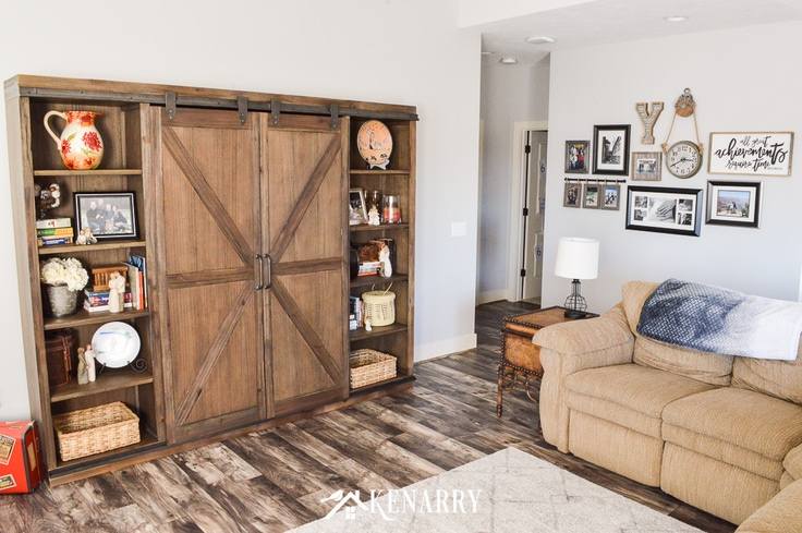 Farmhouse style bookcase in a living room