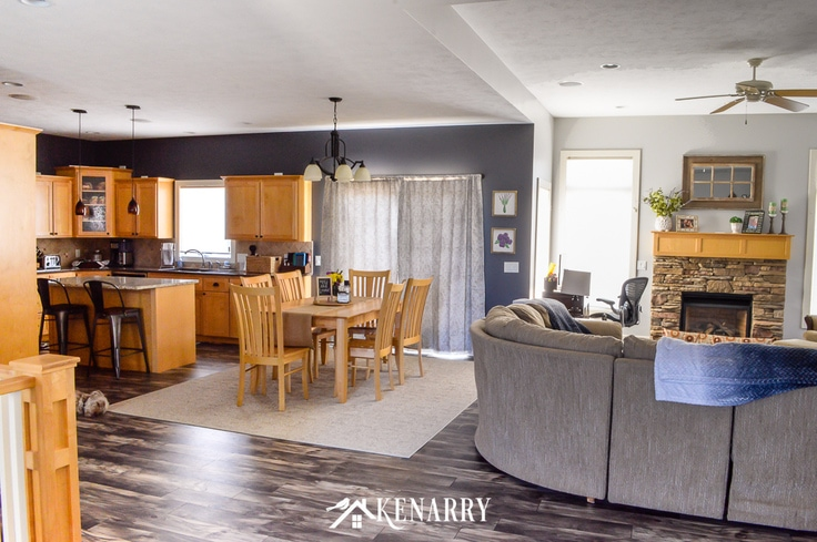 Large open concept great room with kitchen, dining room and living room