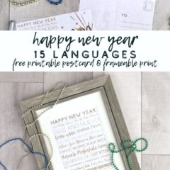 Framed New Year printable with beads on a wood background with a postcard above the post title.