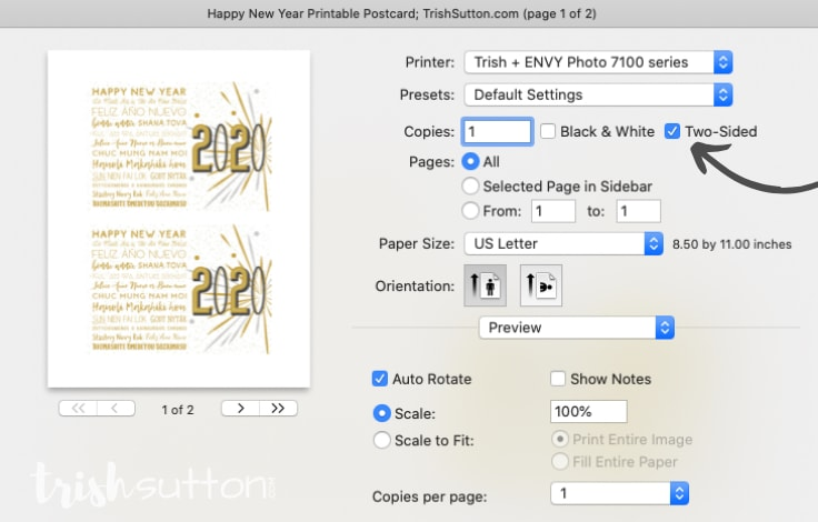 Screenshot of printer instructions for two-sided printing of Happy New Year Different Languages free printables.
