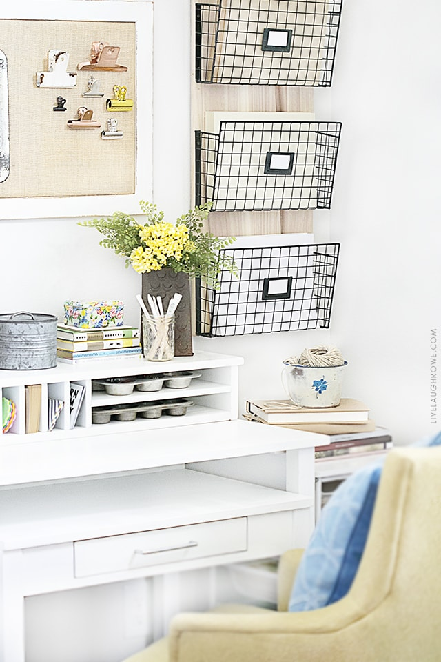 A lovely home office using repurposed items