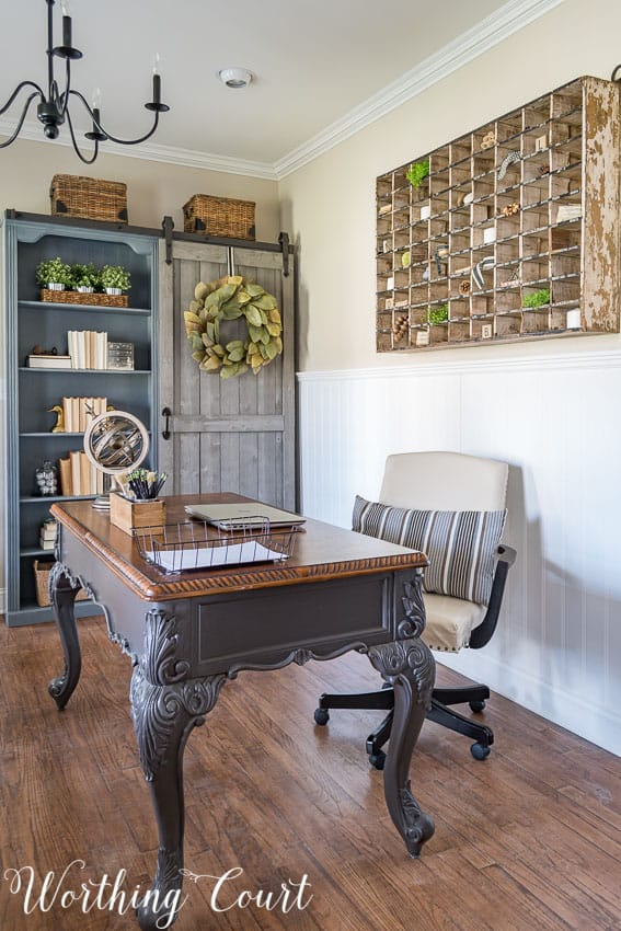 A rustic farmhouse styled home office