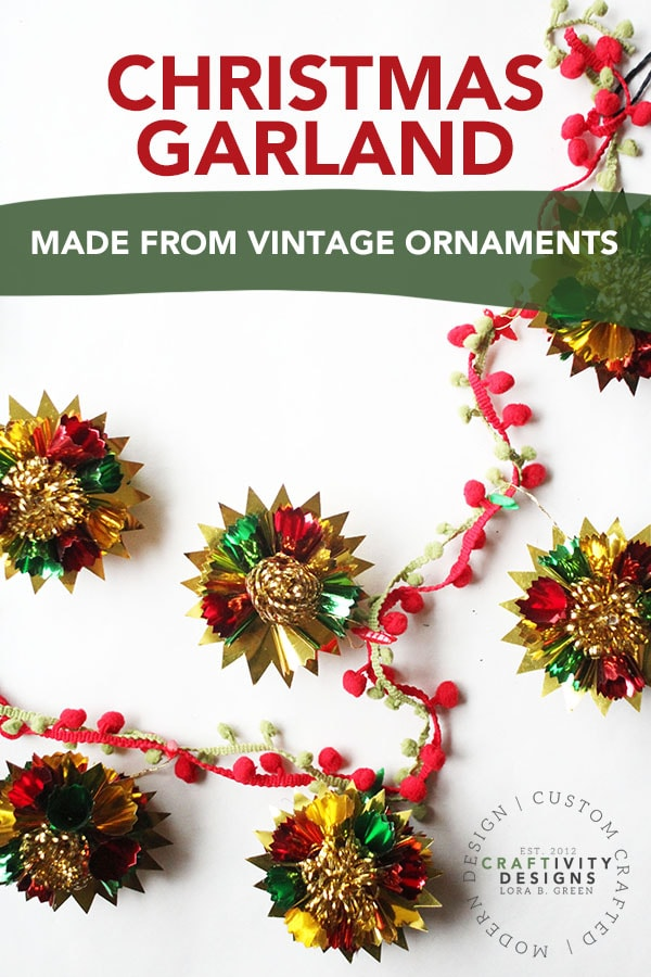 How to make a DIY Christmas Garland with vintage ornaments