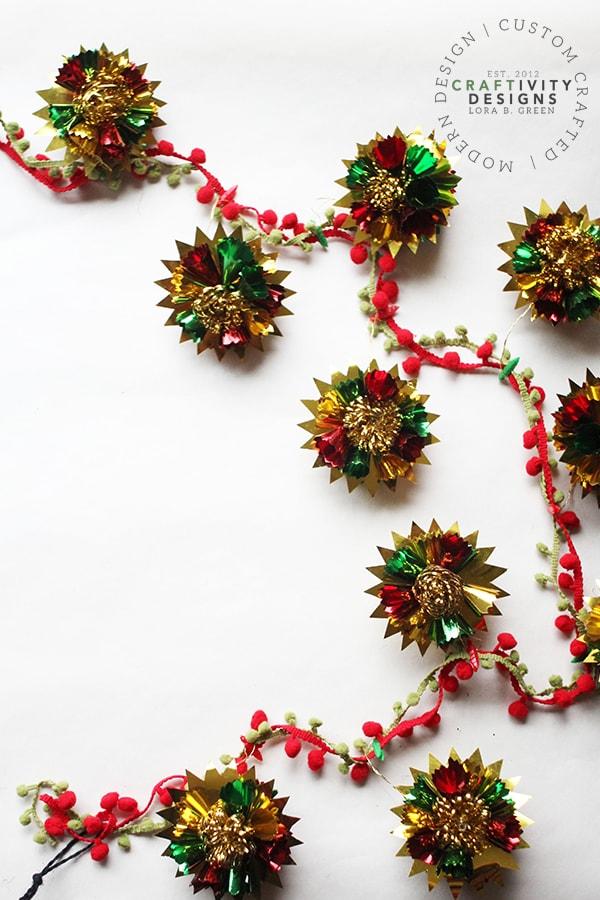 Festive DIY Christmas Garland made with Vintage Ornaments and Pom-Pom Fringe