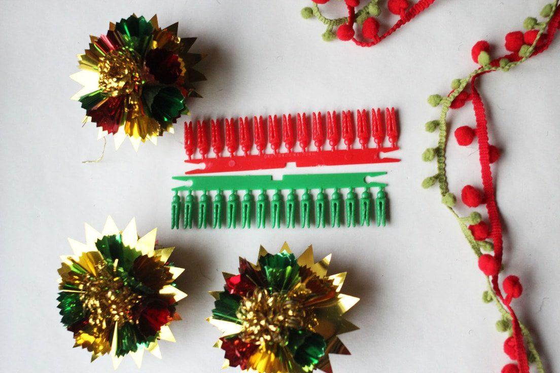 Vintage Foil Ornaments, Vintage Mini Clothespins, Red and Green Pom-Pom Fringe