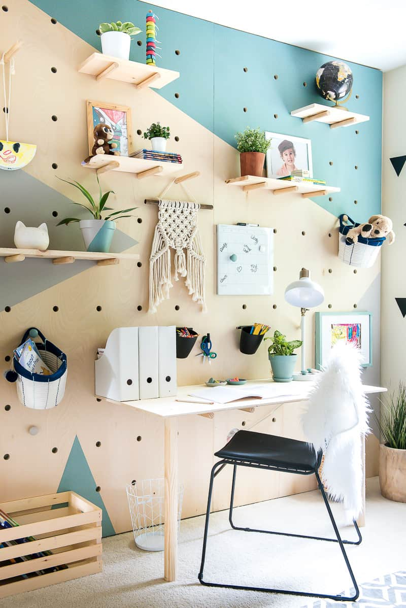 DIY Pegboard wall in a home office