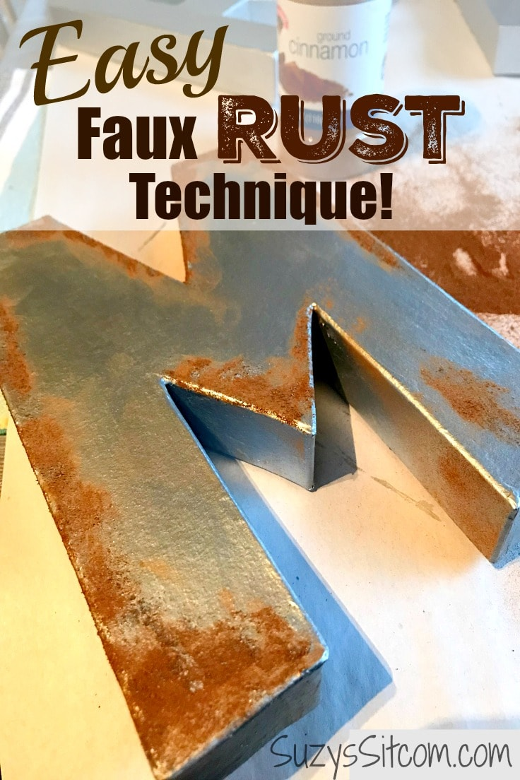 Easy faux rust technique for home decor - on a metal letter M.