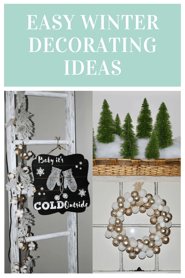 collage of threee winter decorating ideas
